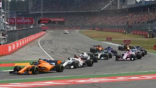 Monoplazas durante el pasado GP de Alemania de F1 2018