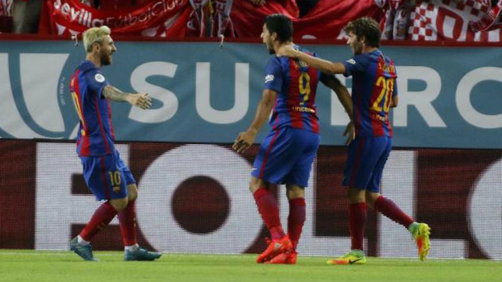 Messi, Suarez and Sergi Roberto