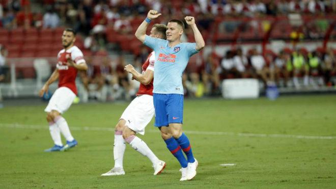 Gameiro celebra una jugada durante el amistoso que el Atlético jugó...