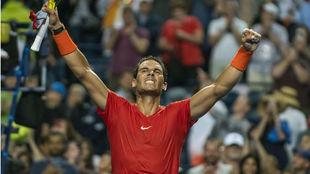 Nadal of Spain celebrates his win