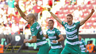 Dória festeja su primer gol en el fútbol mexicano