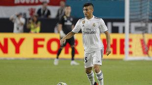 Óscar Rodríguez, durante un partido de pretemporada con el Real...