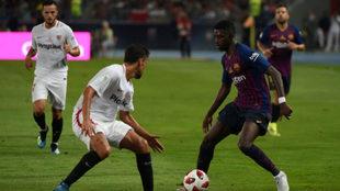 Dembelé en una acción de la Supercopa de España.