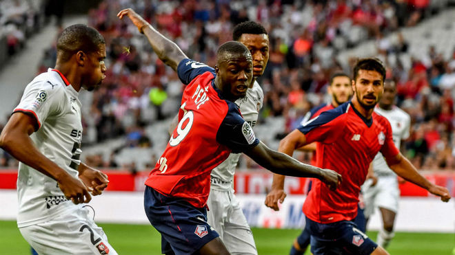 Nicolás Pépé, en el partido del Lille contra el Rennes del pasado...