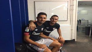 Nolaskoain y Aduriz antes de un amistoso de la pasada temporada.