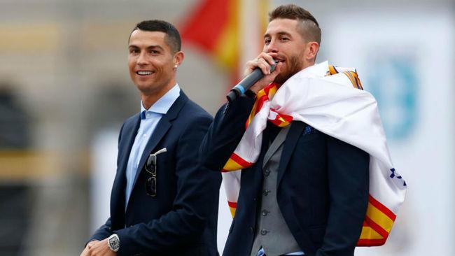 Ramos y Cristiano, en la celebración de la Decimotercera