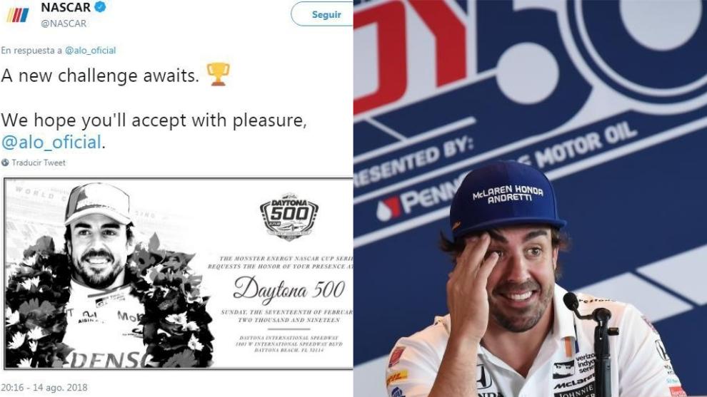 Tweet de NASCAR y Alonso en Indy 500.