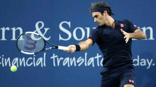 Roger Federer durante su debut en Cincinnati