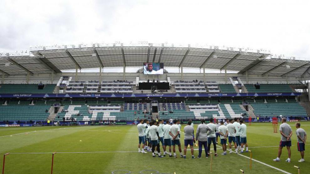 Entrenamiento del Atlético de Madrid en el estadio Lillekula