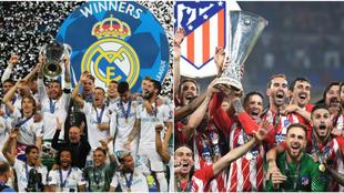 Real Madrid levanta la Champions (izq); Atlético levanta la Europa...