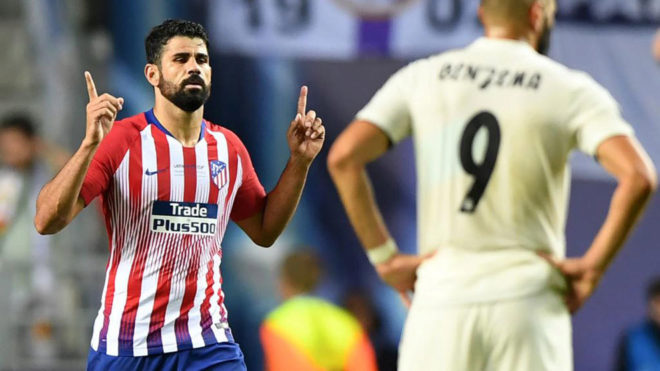 Diego Costa celebrates after scoring a second goal during the UEFA...