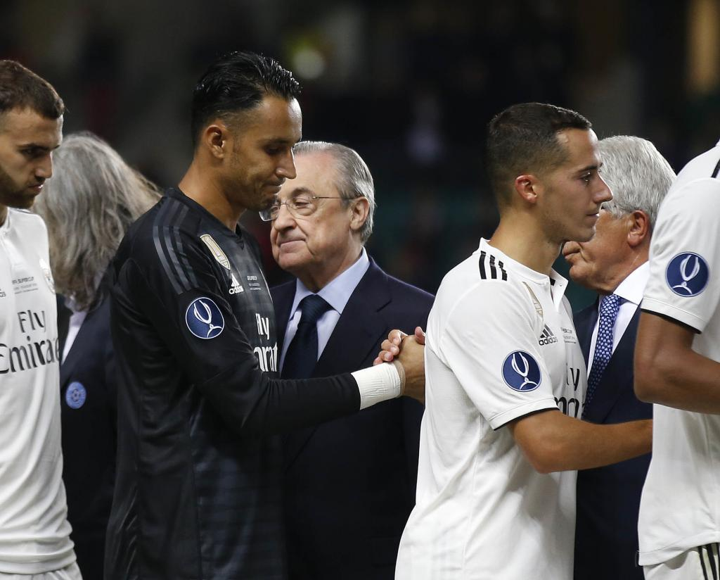 The faces of Keylor Navas and Florentino Perez.