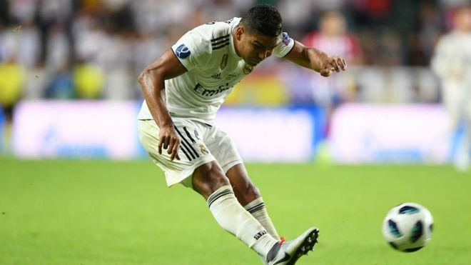 Casemiro kicks the ball during the UEFA Super Cup football match...