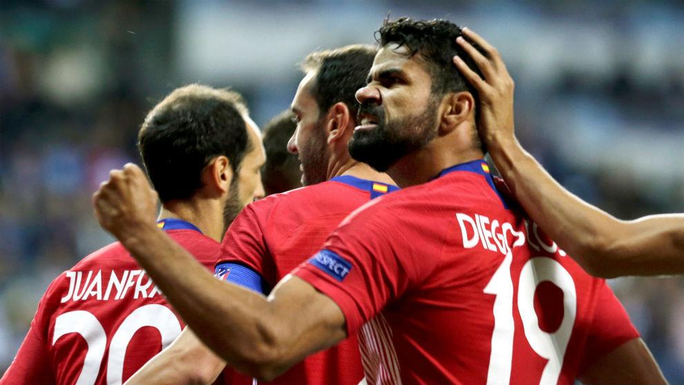 Costa durante la celebración del gol