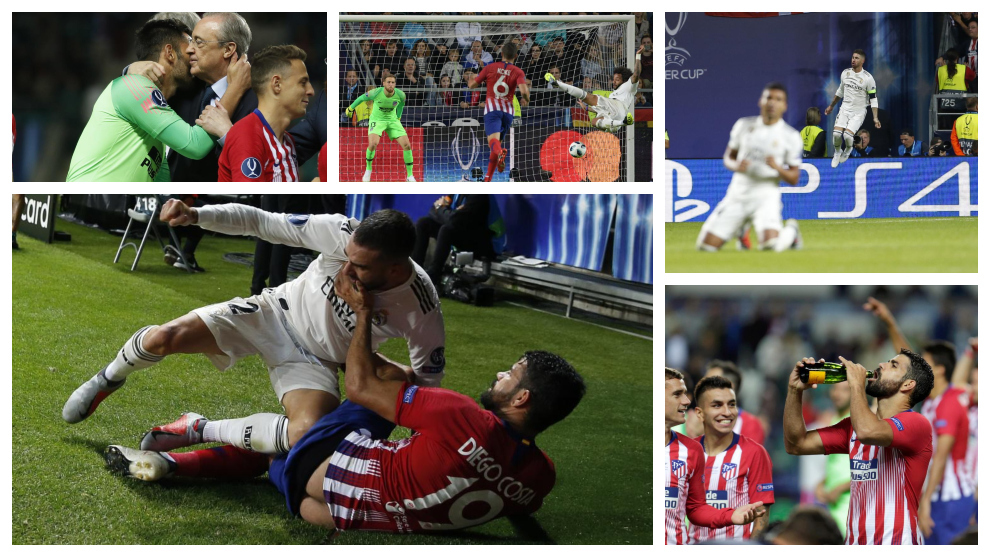 The photo that best describes Diego Costa, the faces of Keylor Navas...