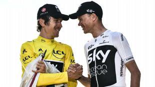 Thomas y Froome en el podio del Tour de Francia.