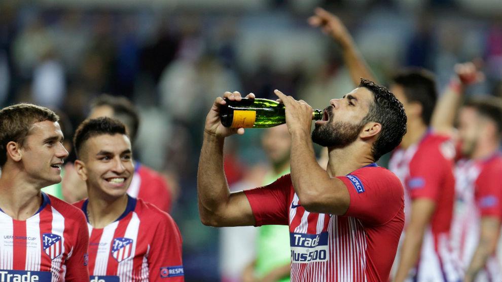 Costa durante la celebración de la Supercopa de Europa