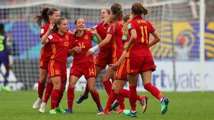 Las jugadoras españolas celebran un gol ante Nigeria.