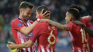 Saúl y Koke celebrando el gol del vallecano