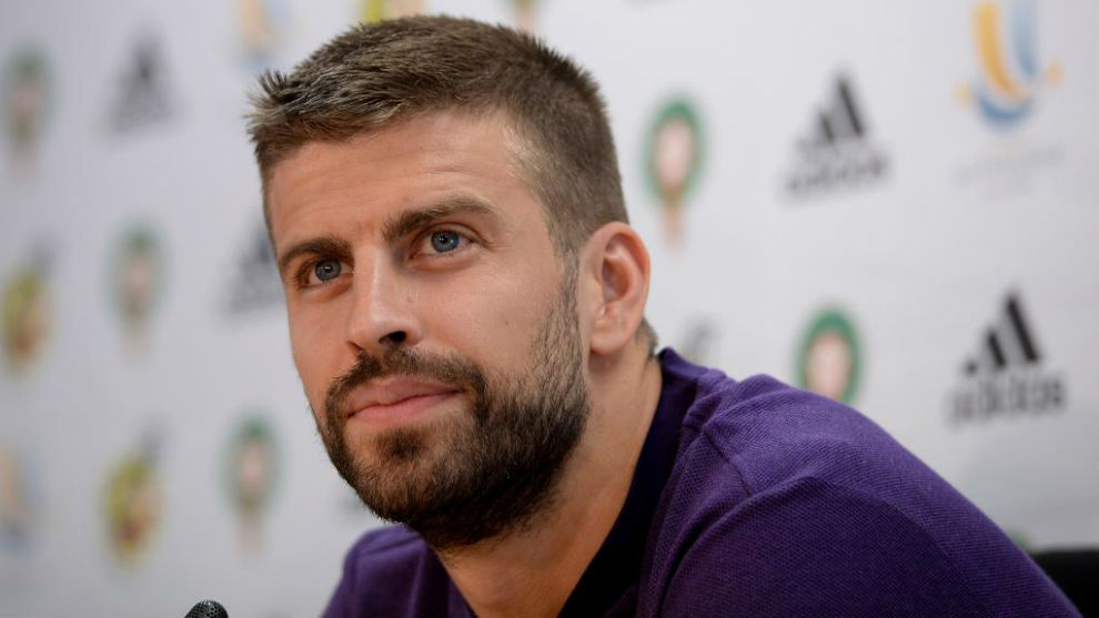 Pique holds a press conference at the FC Barcelona 'Joan Gamper'...