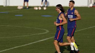 Filipe, junto a Lucas en el entrenamiento del viernes.