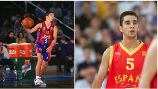 Navarro con la camiseta del Barça y con la camiseta de la Selección...
