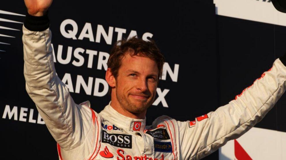 Podium para Jenson Button (GBR) McLaren en el circuito de Albert Park...