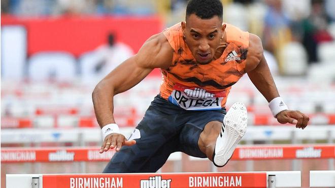 Orlando Ortega, durante la final de los 110 metros vallas en...