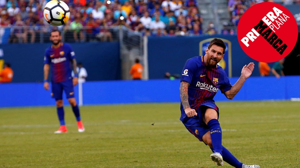 Messi hitting a freekick