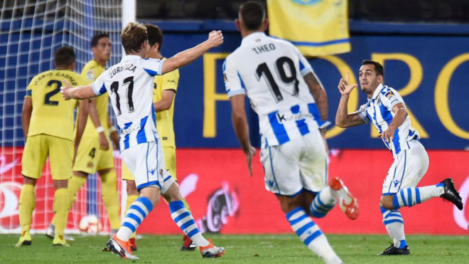 Real Sociedad's midfielder Juanmi celebrates after scoring a goal