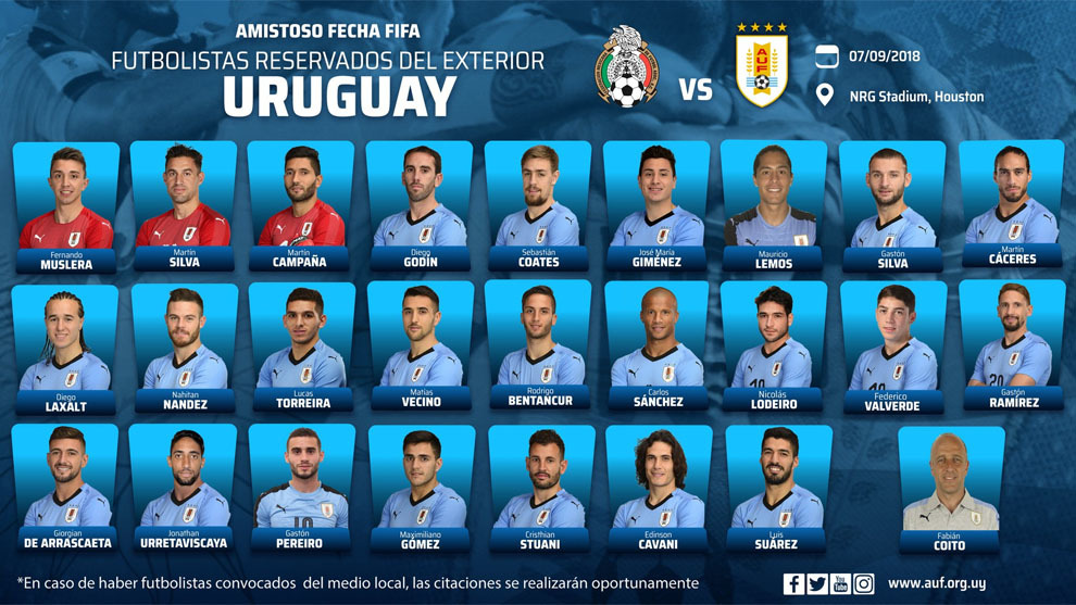 Suárez y Cavani encabezan convocatoria de Uruguay ante México