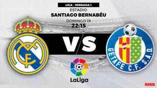 Partido Real Madrid vs Getafe el 19 de agosto a las 22:15