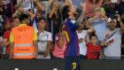 Messi celebrates after scoring a goal.