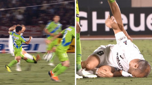 Brutal foul on Andres Iniesta.