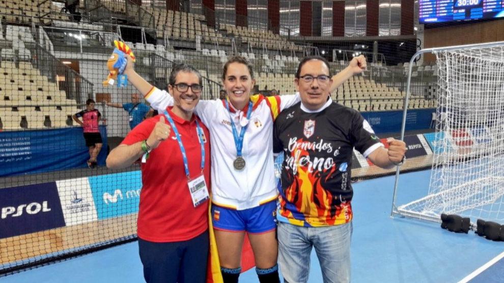 Carmen Campos, celebrando el Oro en los Juegos Mediterráneos 2018