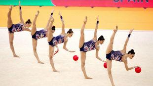 El equipo español durante el Campeonato de Europa de gimnasia...
