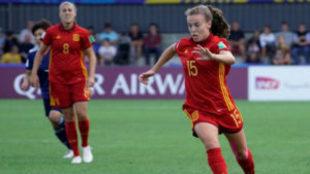 Candela Andújar durante un partido de la selección española en el...