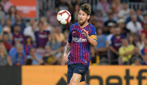 Barcelona's Argentinian forward Lionel Messi controls the ball.