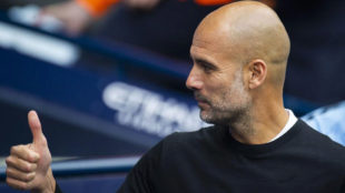Manchester City manager Pep Guardiola reacts during the EPL match...