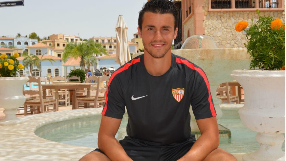 Corchia (27), en la pretemporada del Sevilla en Benidorm.