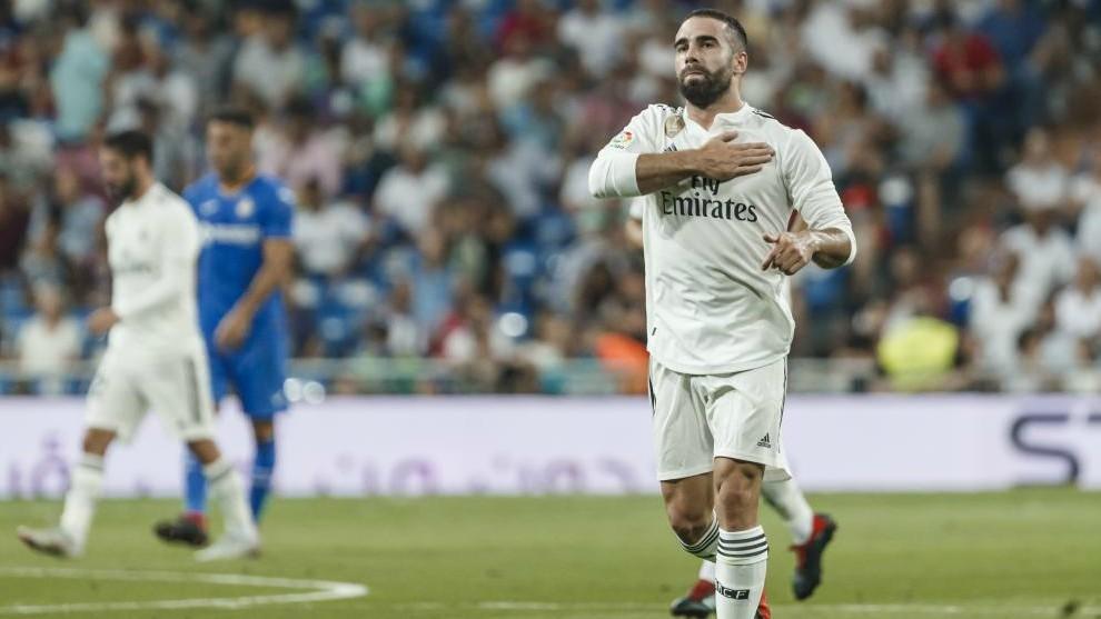 Carvajal celebrates scoring Real's first goal