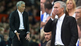 Mourinho gestures during the Premier League match between Brighton and...