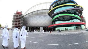 Una vista general del Khalifa Stadium, sede del Mundial de atletismo...