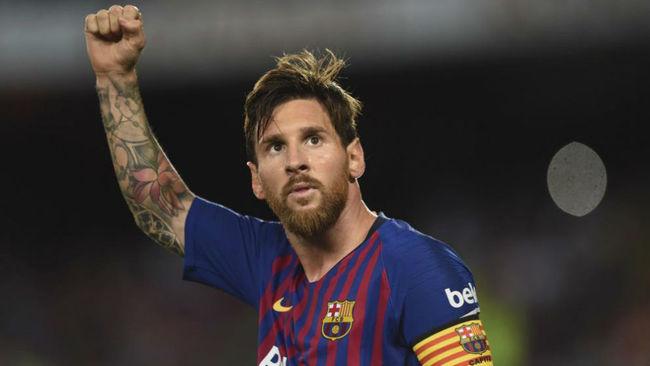Barcelona's Argentinian forward Lionel Messi celebrates after scoring.