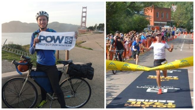 Dakota Jones, en bici, y a la entrada en meta como ganador del Pikes...
