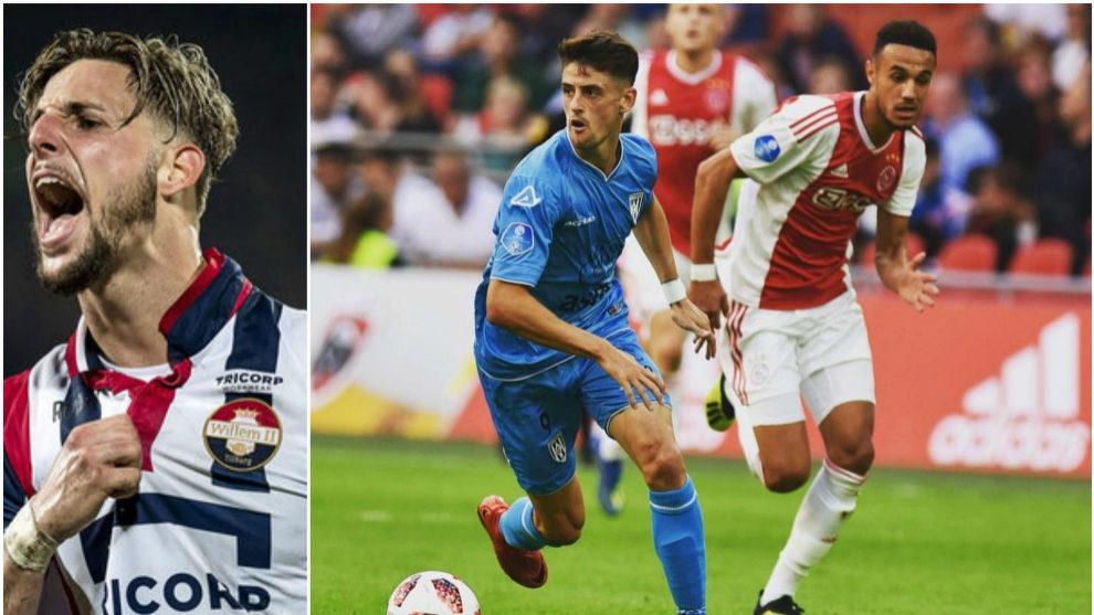 Fran Sol (izquierda); Adrián Dalmau ante el Ajax (derecha)