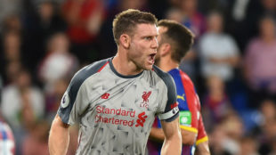 Milner celebrates scoring a goal from the penalty spot during the...