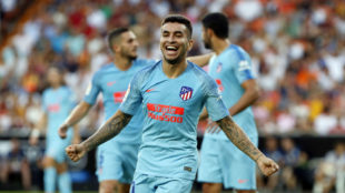 Correa celebrates after scoring the first goal of Atletico in this...