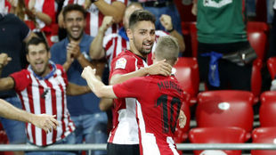 Muniain celebrates his injury time goal
