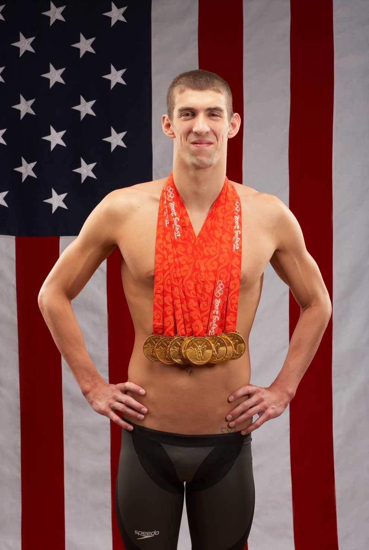 Michael Phelps con las ocho medallas de oro que ganó en Pekín 2008